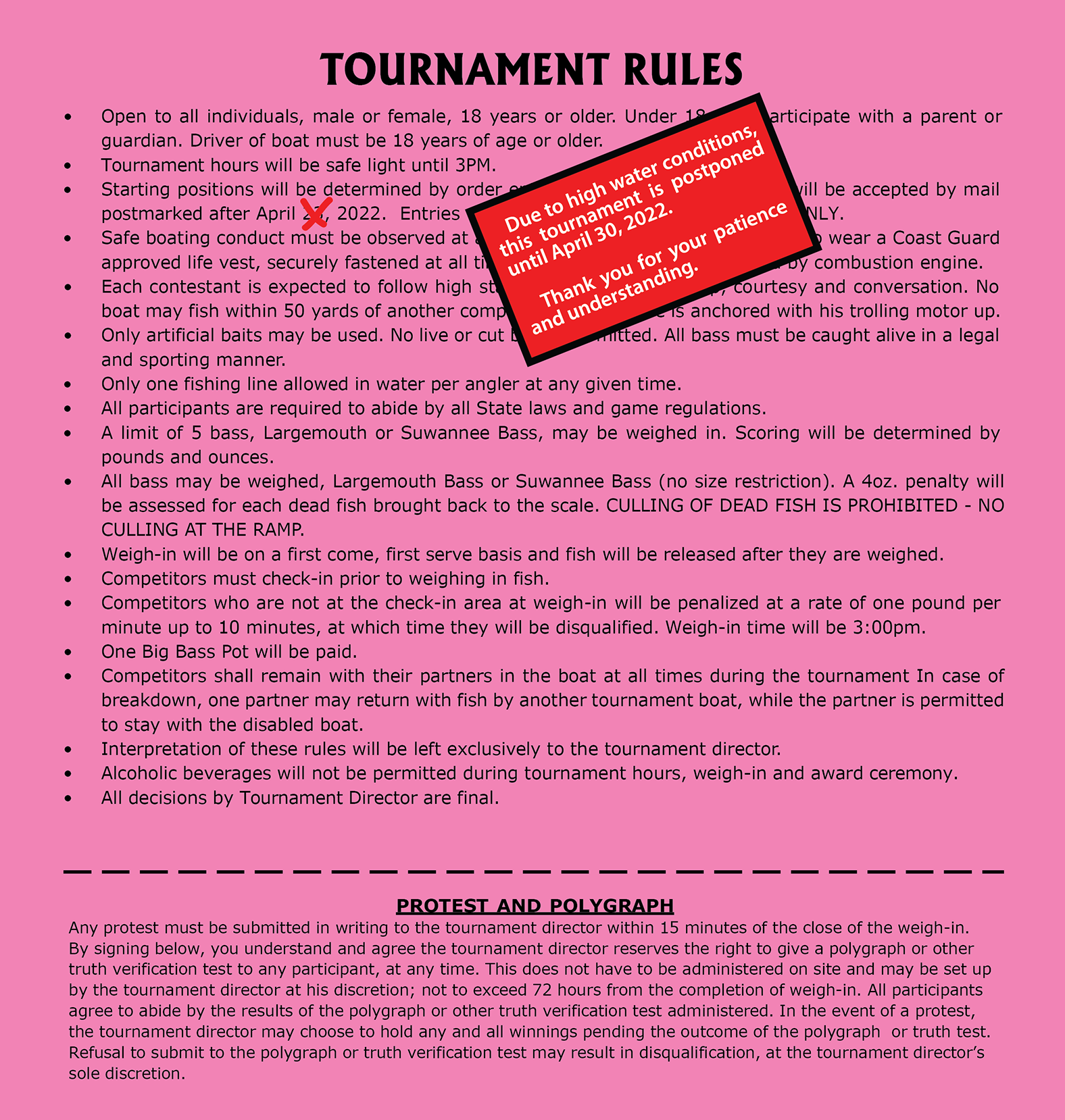 Bass Tournament Rules